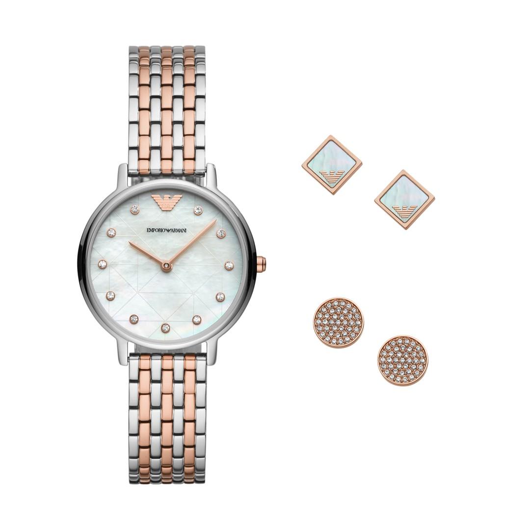 Armani Emporio Armani Women&Apos;S Three-Hand Two-Tone Watch Gift Set Ar8001..