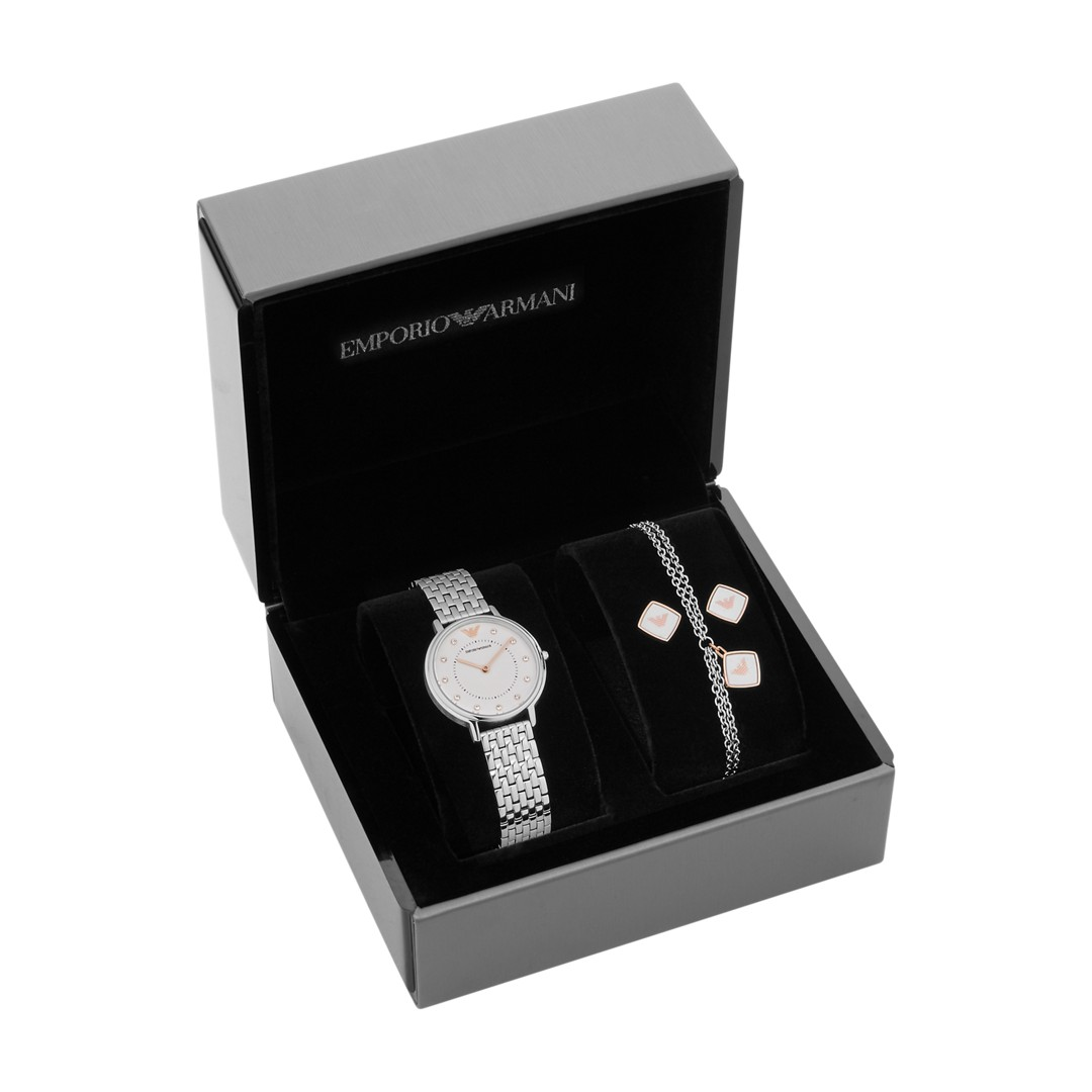 Armani Emporio Armani Women&Apos;S Two-Hand Stainless Steel Watch Gift Set Ar80023 Jewelry - AR80023-WSI
