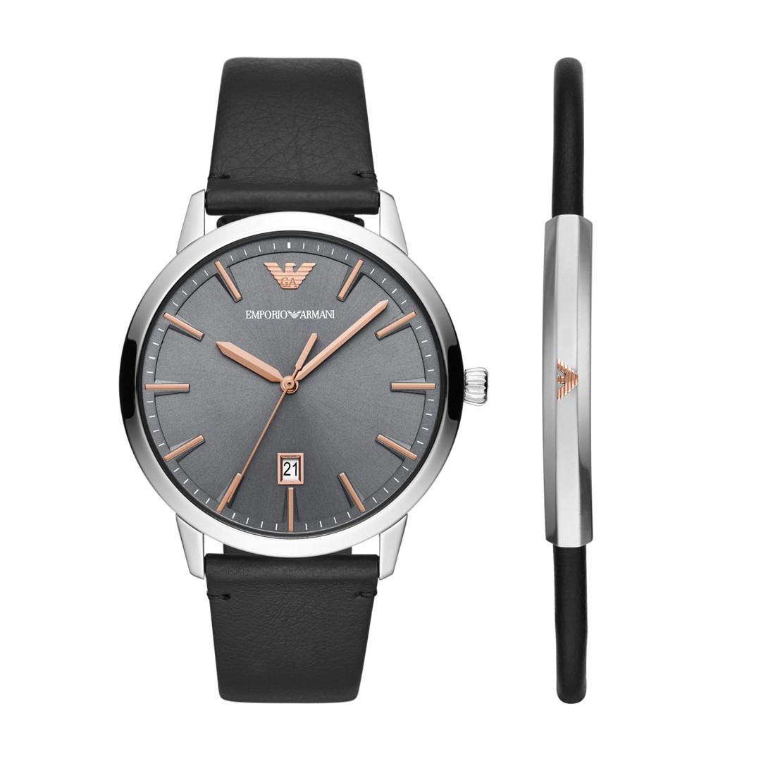 Armani Emporio Armani Men&Apos;S Three-Hand Black Leather Watch Gift Set Ar80026 Jewelry - AR80026-WSI