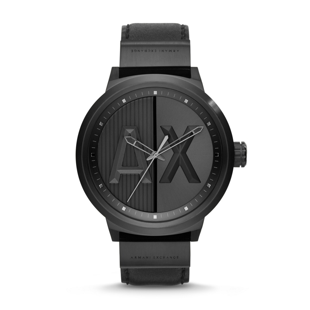 Armani Exchange A|X Men&Apos;S  Atlc Black Leather Watch Ax1366 Jewelry - AX1366-WSI