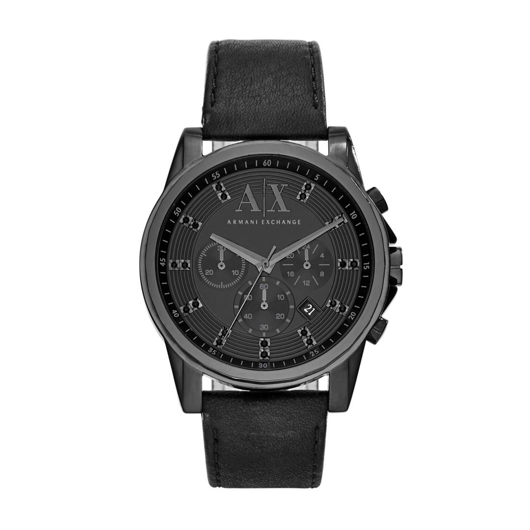 Armani Exchange A|X Men&Apos;S Outer Banks Chronograph Black Leather Watch Ax2507 Jewelry - AX2507-WSI