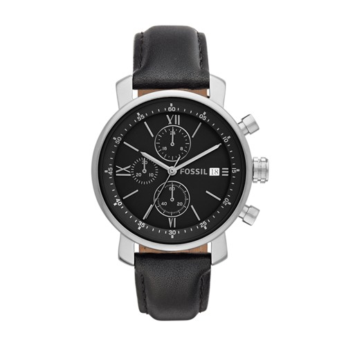 Fossil Rhett Chronograph Black Leather Watch BQ1006