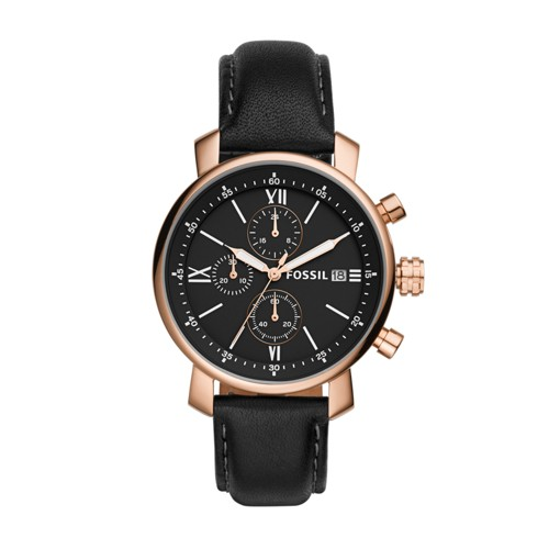 Fossil Rhett Chronograph Black Leather Watch BQ1008
