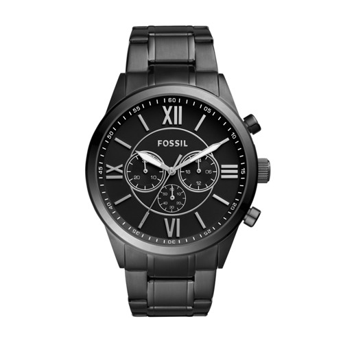 Fossil Flynn Chronograph Black Stainless Steel Watch Bq1127ie