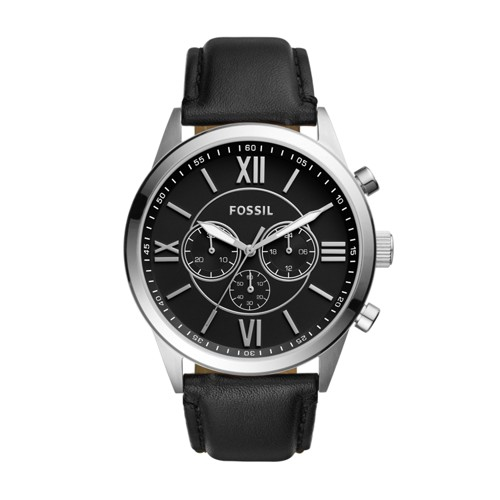 Fossil Flynn Chronograph Black Leather Watch BQ1130