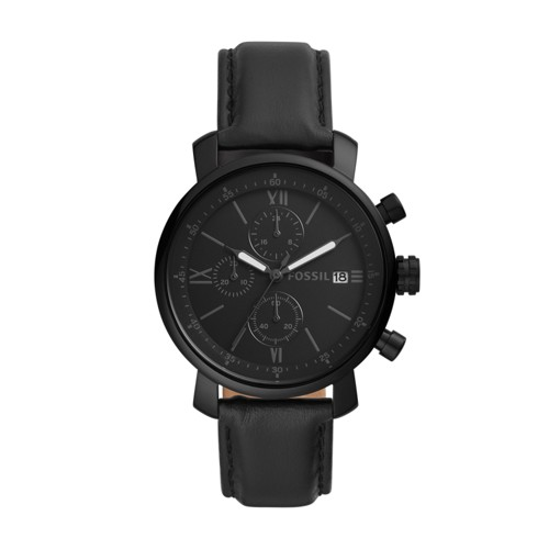 Fossil Rhett Chronograph Black Leather Watch  Jewelry
