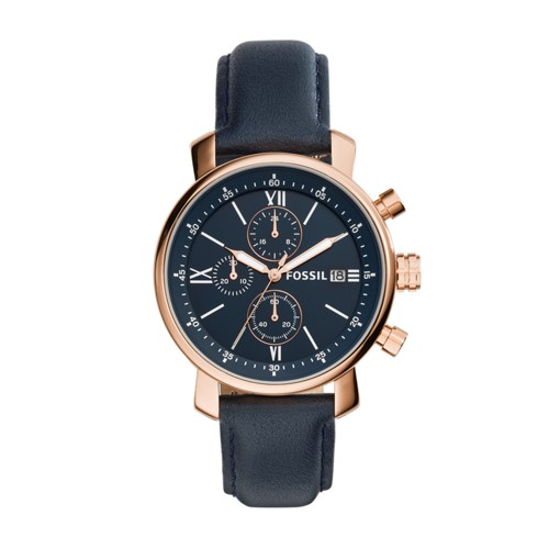 Fossil Rhett Chronograph Navy Leather Watch BQ1704