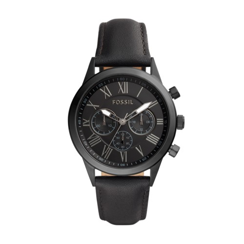 Fossil Flynn Midsize Chronograph Black Leather Watch BQ1734