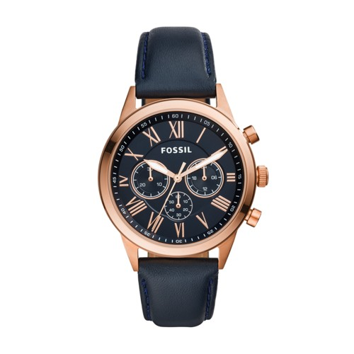 Fossil Flynn Midsize Chronograph Blue Leather Watch BQ1735IE