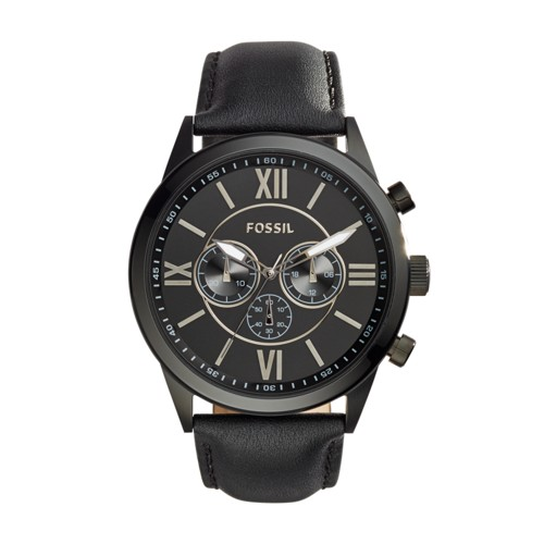 Fossil Flynn Chronograph Black Leather Watch BQ1777