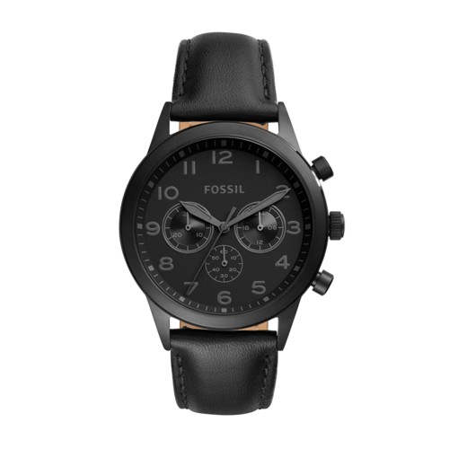 Fossil Flynn Pilot Chronograph Black Leather Watch Bq2123