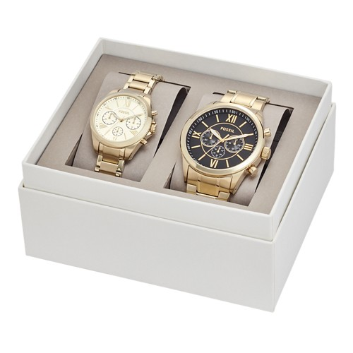 Fossil His and Her Chronograph Gold-Tone Stainless Steel Watch Gift Set BQ2145SET