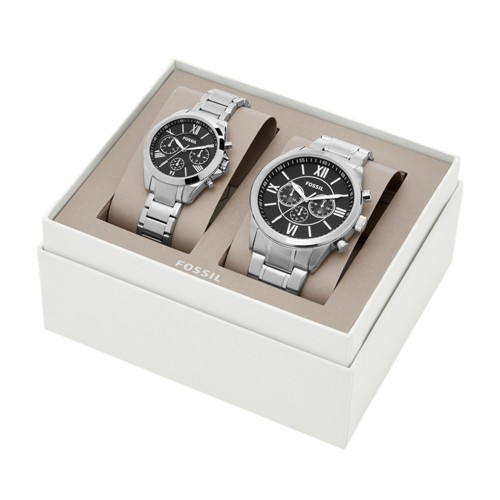 His and Her Chronograph Stainless Steel Watch Gift Set BQ2146SET