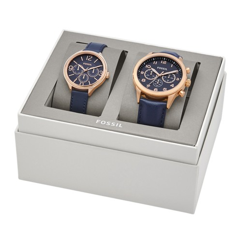 Fossil His Chronograph and Her Multifunction Navy Leather Watch Gift Set BQ2186SET