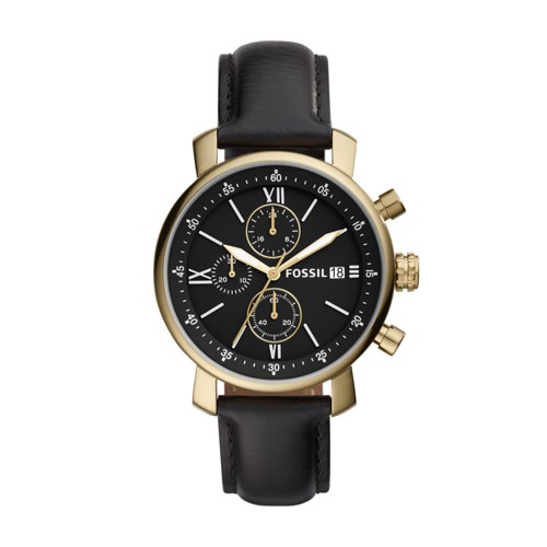 Fossil Rhett Chronograph Black Leather Watch BQ2187