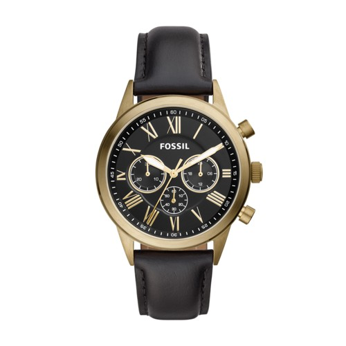 Fossil Flynn Midsize Chronograph Black Leather Watch BQ2192