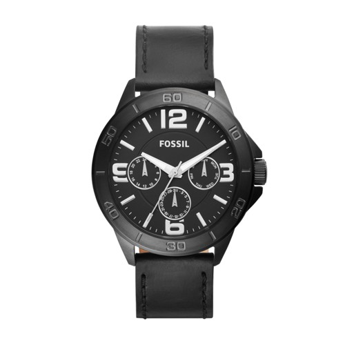 Fossil Modern Century Multifunction Black Leather Watch BQ2204