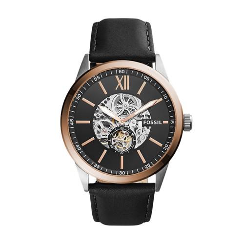 Fossil Flynn Mechanical Black Leather Watch BQ2216