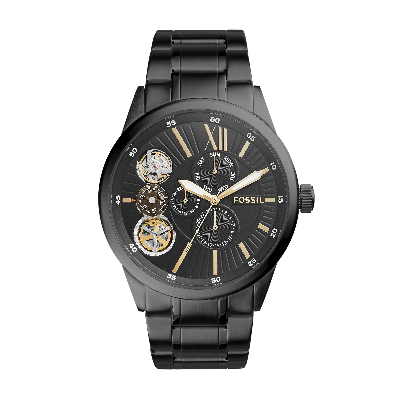 Fossil Flynn Mechanical Black-Tone Stainless Steel Watch Bq2220