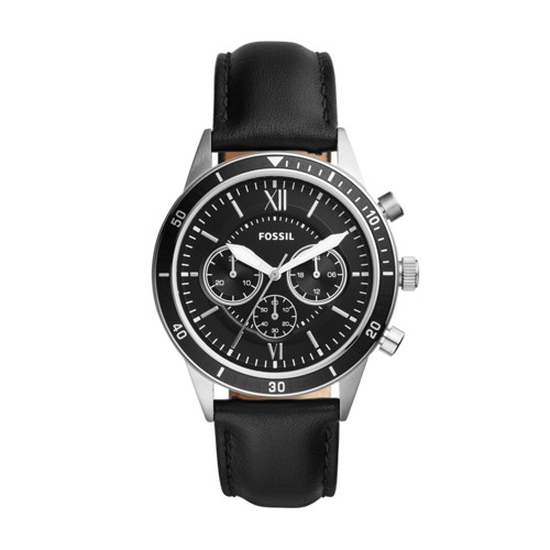 Fossil Flynn Sport Chronograph Black Leather Watch BQ2228
