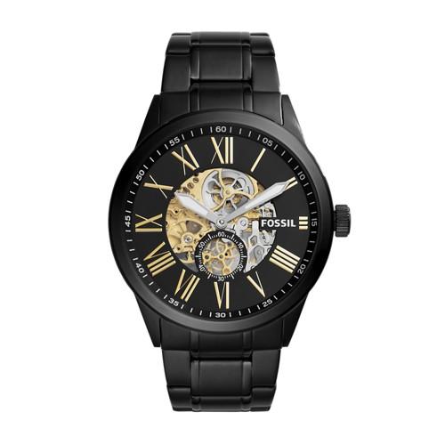Fossil Flynn Pilot Mechanical Black Stainless Steel Watch BQ2243