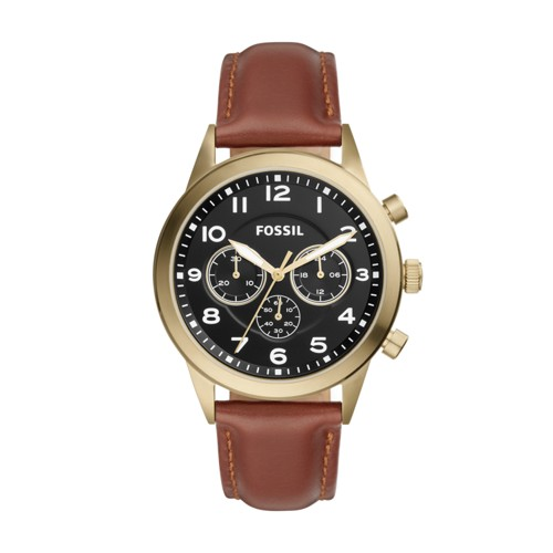 Fossil Flynn Pilot Chronograph Brown Leather Watch BQ2256