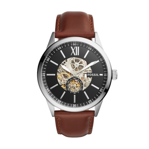 Fossil Flynn Automatic Brown Leather Watch BQ2270