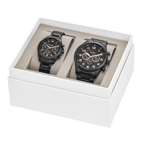 Fossil His and Her Chronograph Black Stainless Steel Watch Gift Set BQ2278SET