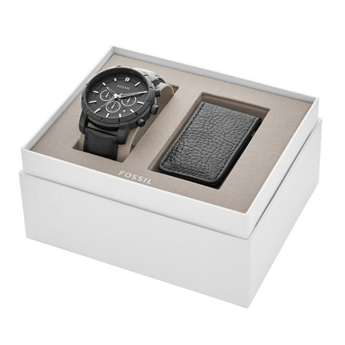 Fossil Lance Chronograph Black Leather Watch And Money Clip Gift Set Bq2279set