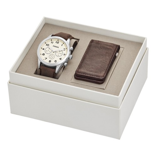 Fossil Flynn Pilot Chronograph Brown Leather Watch And Money Clip Gift Set Bq2280set