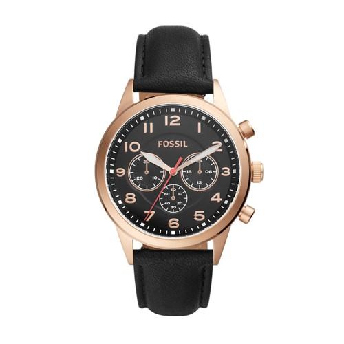 Fossil Flynn Pilot Chronograph Black Leather Watch BQ2283