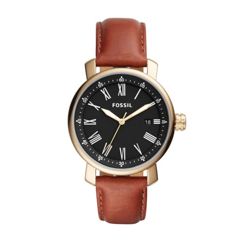 Fossil Rhett Three-Hand Date Brown Leather Watch BQ2288