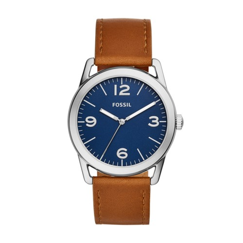 Fossil Ledger Three-Hand Brown Leather Watch  Jewelry