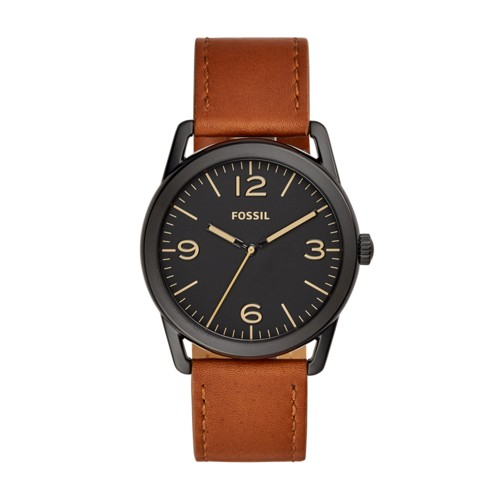 Fossil Ledger Three-Hand Brown Leather Watch BQ2305