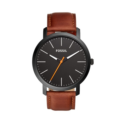 Fossil Luther Three-Hand Brown Leather Watch  Jewelry