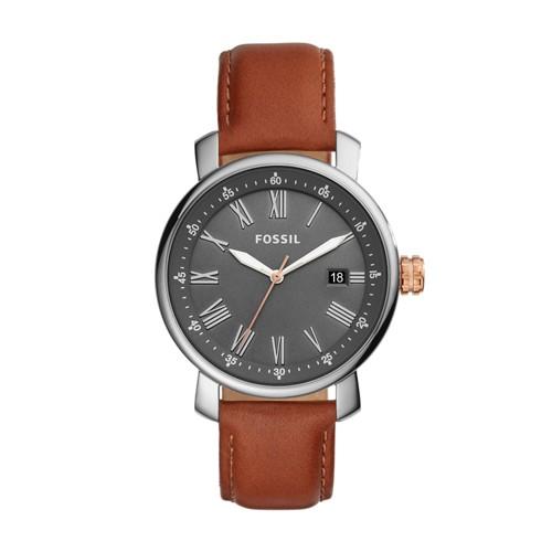 Fossil Rhett Three-Hand Date Brown Leather Watch BQ2317