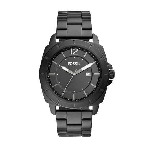 Fossil Privateer Sport Three-Hand Date Black Stainless Steel Watch BQ2322