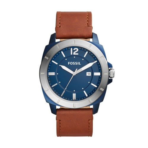 Fossil Privateer Sport Three-Hand Date Brown Leather Watch BQ2323