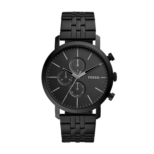 Fossil Luther Chronograph Black Stainless Steel Watch Bq2330