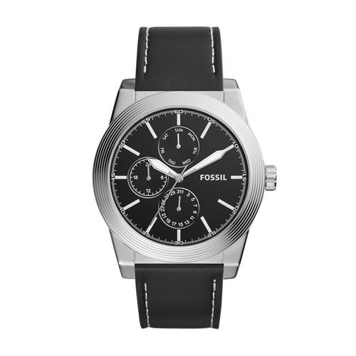 Fossil Geoff Multifunction Black Leather Watch BQ2334