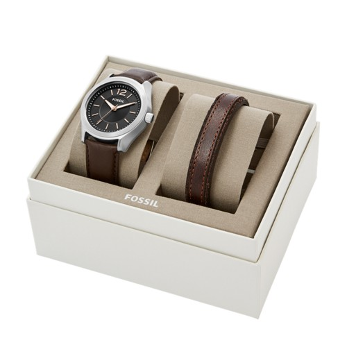 Fossil Editor Three-hand Brown Leather Watch And Bracelet Gift Set BQ2340SET