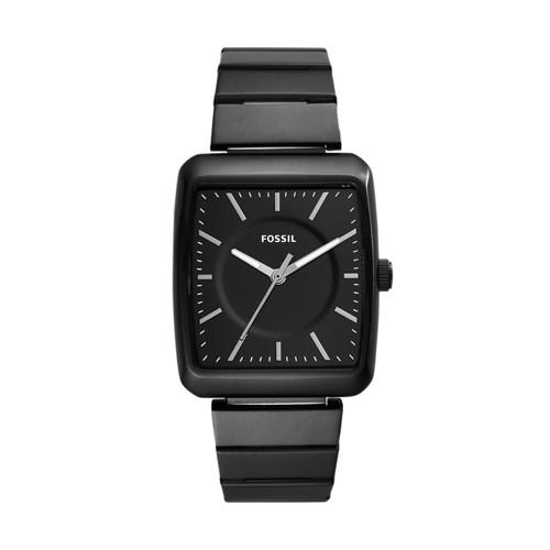 Fossil Heathcliff Three-Hand Black Stainless Steel Watch BQ2354