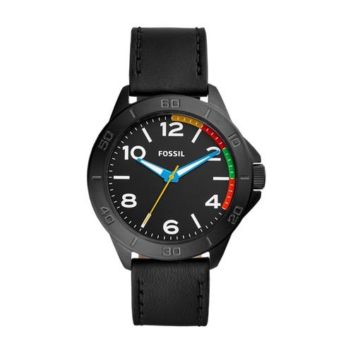 Fossil Modern Century Three-Hand Black Leather Watch BQ2356