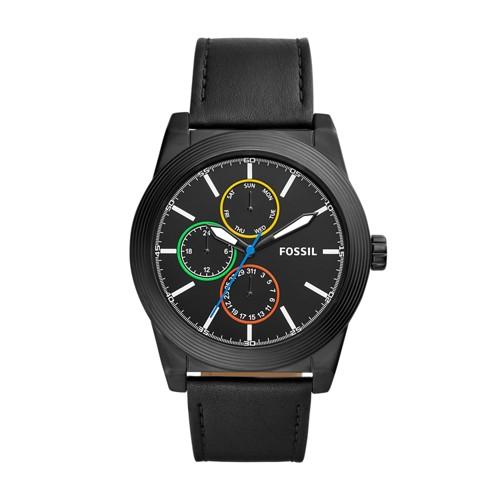 Fossil Geoff Multifunction Black Leather Watch BQ2358