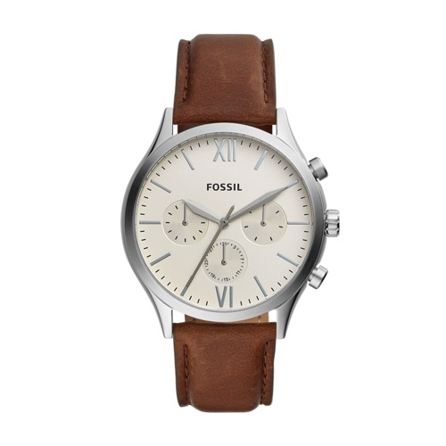 fossil Fenmore Midsize Multifunction Brown Leather Watch BQ2363