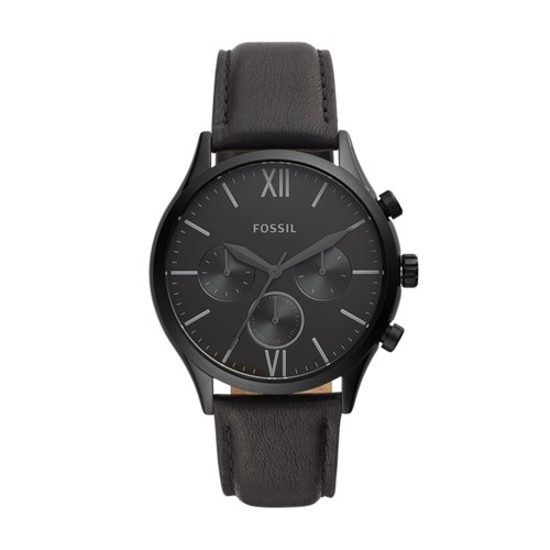 fossil Fenmore Midsize Multifunction Black Leather Watch BQ2364