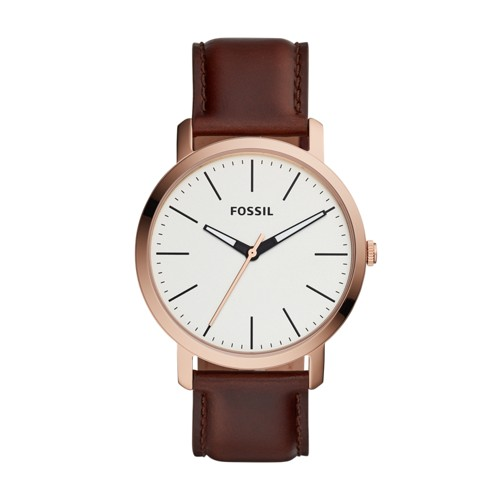 Fossil Luther Three-Hand Brown Leather Watch BQ2371