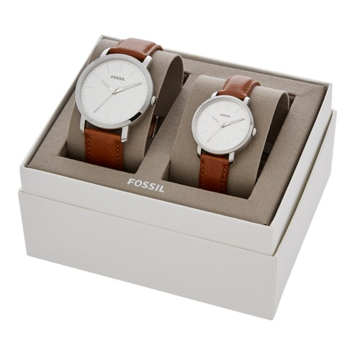 fossil His and Her Luther Three-Hand Luggage Leather Watch Gift Set BQ2397SET