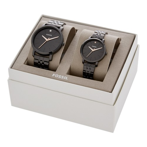 fossil His and Her Lux Luther Three-Hand Black Stainless Steel Watch Gift Set BQ2399SET