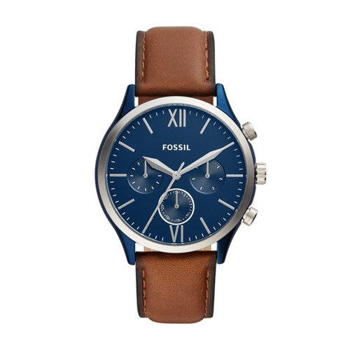 fossil Fenmore Midsize Multifunction Luggage Leather Watch BQ2402